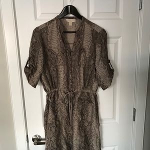 Michael Kors 100% Silk Dress- Tan-Size L
